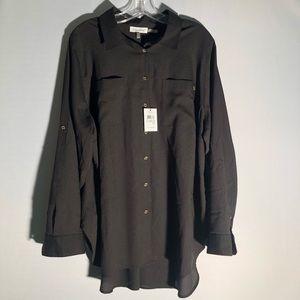 NWT Calvin Klein Black Button Down Blouse R2